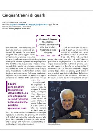 Cinquant'anni di quark di Vincenzo C. Barone