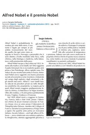 Alfred Nobel e il premio Nobel