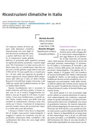 Ricostruzioni climatiche in Italia