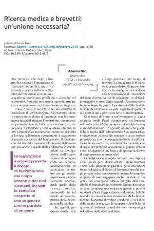 Ricerca medica e brevetti: un'unione necessaria?