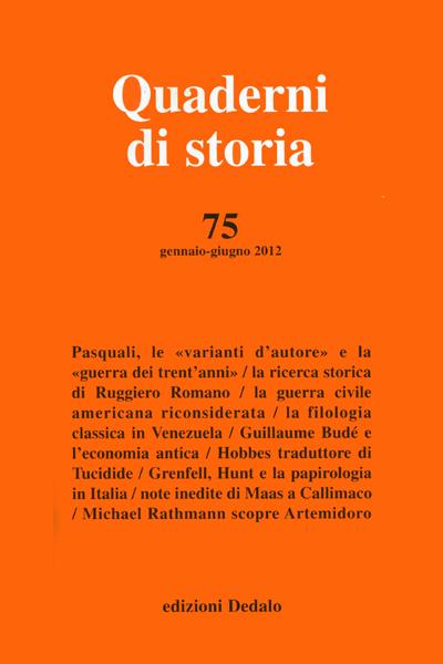 Quaderni di storia 75/2012
