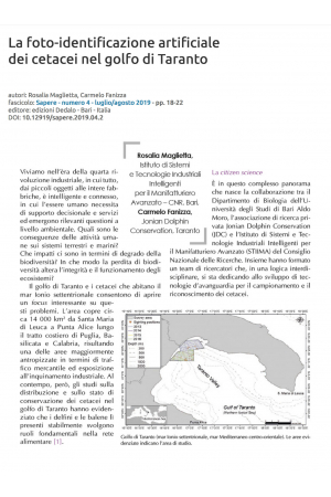 La foto-identificazione dei cetacei nel golfo di Taranto