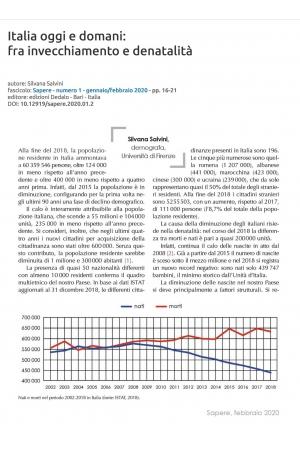 Italia oggi e domani: fra invecchiamento e denatalità