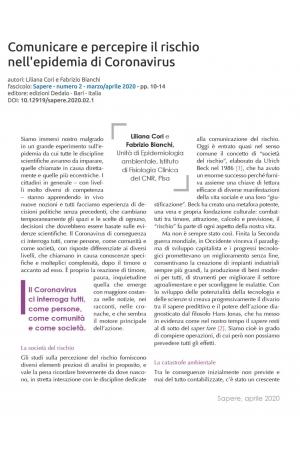 Comunicare e percepire il rischio nell'epidemia di Coronavirus