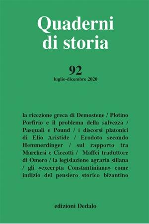 Quaderni di storia 92/2020