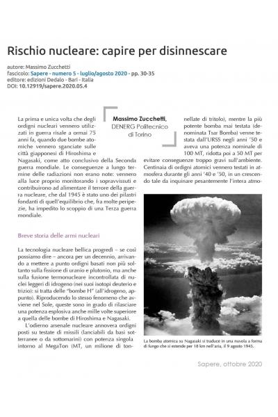 Rischio nucleare: capire per disinnescare