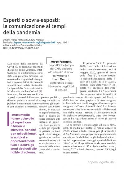 Esperti o sovra-esposti: la comunicazione ai tempi della pandemia