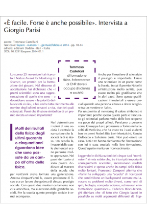 Sapere n. 1 - gennaio/febbraio 2014 - art. 1 - Castellani