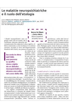 Le malattie neuropsichiatriche e il ruolo dell'etologia di Bianca De Filippis e Enrico Alleva