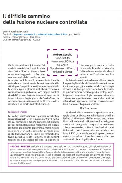 Il difficile cammino della fusione nucleare controllata di Andrea Macchi
