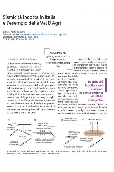 Sismicità indotta in Italia e l'esempio della Val D'Agri