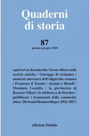 Quaderni di storia 87/2018