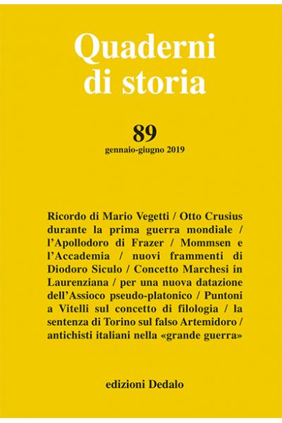 Quaderni di storia 89/2019